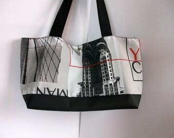 black and multicolor fabric shopping bag