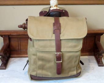 Vintage Korchmar Garrett Field Waxed Cotton Twill Backpack With Brown Leather Trim- Excellent Unused Condition