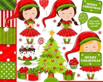 80% OFF SALE Christmas clipart, Christmas girl clipart, Christmas, Clip art, Girl clipart, Christmas elf clipart - CL120