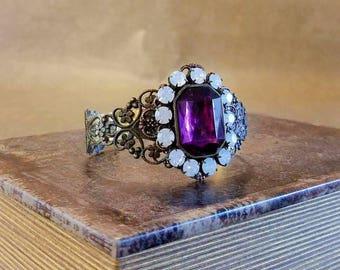 Romantic Victorian Jeweled Filigree Cuff vintage jewelry OOAK Bracelet vintage opals purple stone cuff bracelet Luxe Hardware steampunk cuff