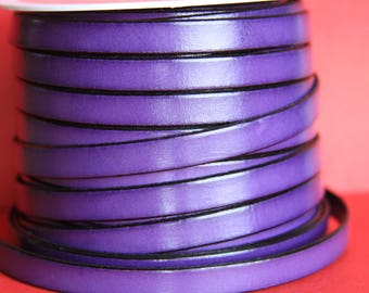 "MADE in EUROPE 24"" flat leather cord, 10mm leather cord, purple genuine leather cord (221/10/06)"