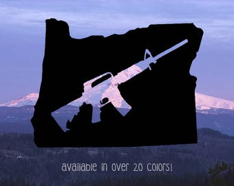 Oregon Decal, Oregon Gun Decal, AR15 Decal, Home State Decals, Oregon Sticker for Car, Oregon Decal for Car, Window Decals, State Decals