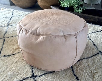 Natural Vintage Leather Pouf, Morocco - Unfilled