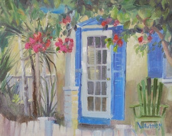 Florida Painting, Florida Keys Painting, Key West, Small Painting, Oil Paintings, Front Porch, original Painting on Canvas Art, Sue Whitney