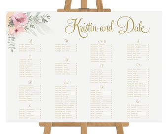 Printable Wedding Seating Chart, Seating Plan, Pink and Gold, Floral Watercolour, DIY Digital or Professionally Printed, Kristen Suite