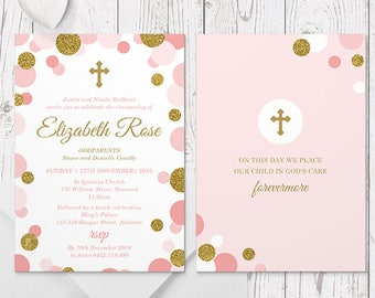 Girl Christening or Baptism Invitation, Pink and Gold Glitter, Professionally Printed, Peach Perfect Australia