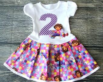 Dora Birthday Dress, Dora Girls Dress, Girls Birthday outfit- Dora The Explorer