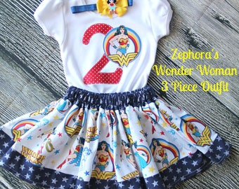 WONDER WOMAN 3 Piece Birthday Outfit for girls-