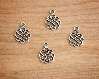 SALE - STERLING SILVER - 4 Celtic Love Knots - Jewelry Component
