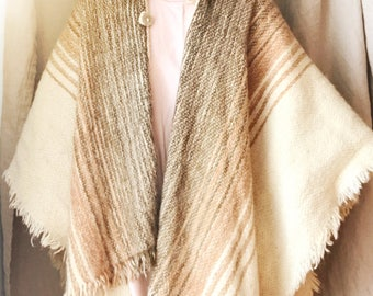 Hand woven wool poncho/cape