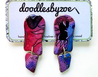 """Wavy dangle earrings – """"Galaxy"""" (wearable art, eco wood, watercolour)"""