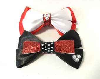 Mickey, Minnie hair bows, Disney accessory, Mouse, black, red, white, Valentine's Day, birthday party, clip, women, baby, girls, glitter
