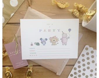 Animal Party Invitations // 10 pack, party animal, animal theme, animal theme party, birthday invitation, baby shower invitation, invitation