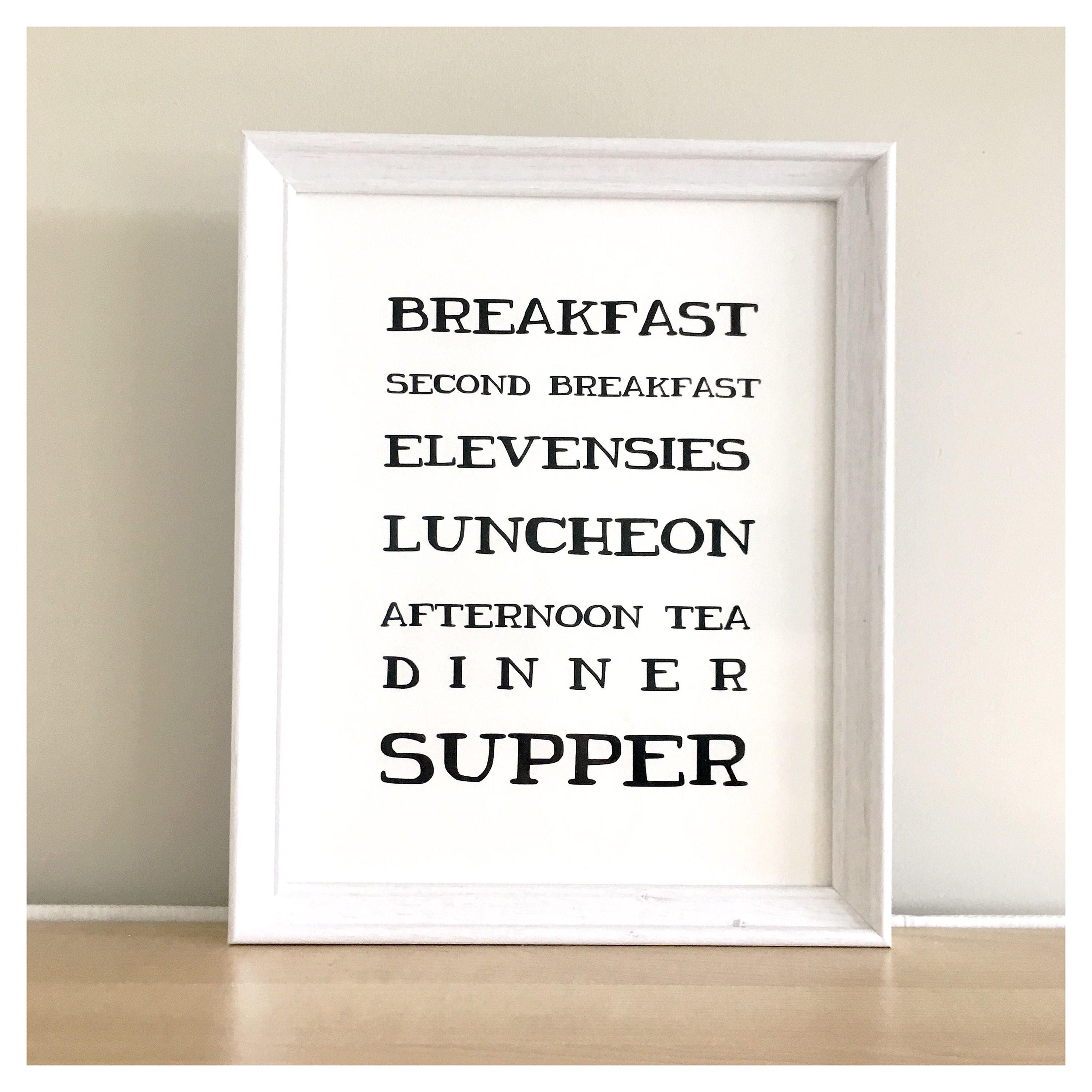 Kitchen Print // LOTR Quote, Second Breakfast, Tolkien Quote, LOTR Print, LOTR  Quote, Kitchen Wall Art, Foodie Print, Lord Of The Rings