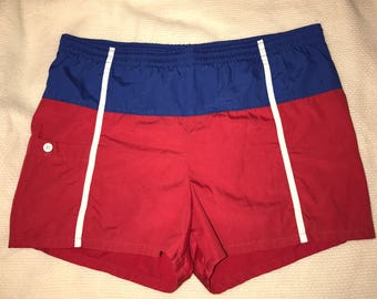 Vintage Red, White, and Blue 70's Swim Trunks / size 36 / by Jantzen