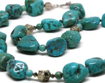 Chunky Turquoise and Pyrite Necklace, Genuine Turquouse Bead Necklace, Chunky Turquoise Bead Necklace