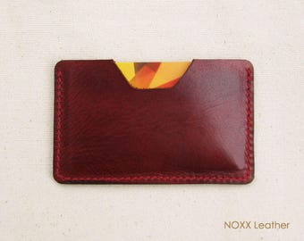 Slim Card Holder, Leather Card Case, Vegetable Tanned Leather Brown Card Wallet