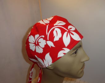 Mens scrub hat, surgical hat, chemo hat, white flowers, hibiscus, Hawaii, bright red, surgeons hat, ties in back, FREE US SHIPPING
