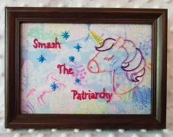 Smash The Patriarchy Feminist Feminism Pink Purple Sparkly Unicorn 5x7 dark walnut framed hand embroidered embroidery art