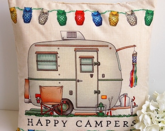 RV Campers Cushion Cover.Happy Campers Pillow Cover.Vintage RV Cushion.Rv Travel Themed Decor.Camping Traveler Gift.RV Camper Decor