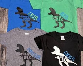 Dinosaur birthday shirt, dinosaur third birthday shirt, boy's third birthday shirt, three Rex birthday shirt, custom birthday shirt