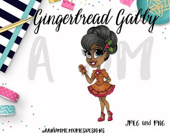 Digital Stamp, Gingerbread Girl Coloring page, Cardmaking, Gingerbread Gabby Digi