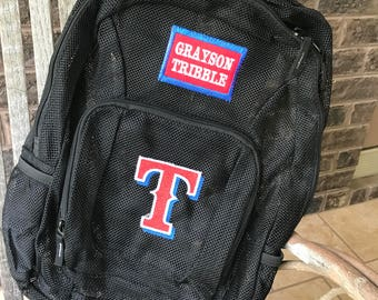 Monogrammed Backpack | Mesh Backpack | Back to School | Baseball  Backpack | Boys Backpack | Mesh Backpack | Embroidered Mesh Backpack