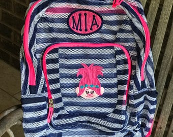 Monogrammed Backpack | Mesh Backpack | Troll  Backpack | Girls Backpack | Poppy Troll Backpack | Mesh Troll Backpack | Backpacks | Princess