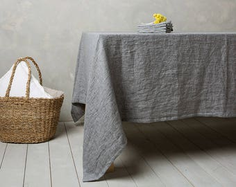 Linen tablecloth-Linen table cloth in Graphite-Table linens-Tablecloth-Washed Linen tableloth.