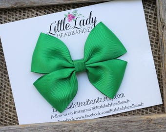 Green Bow Boutique Bow kelly green hair bow girls ribbon bow large bow