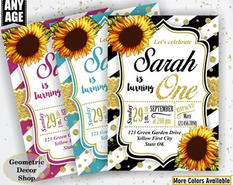 Sunflower Birthday Invitation / First Party Invite Fall Invitation Floral Girl 1st Flowers Gold teal pink glitter / One / BDSF3/4/5