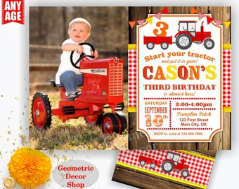 Tractor Birthday Invite, Tractor Invitation, Tractor Birthday Invitations, Tractor Invites, Woodland, Digital Red Plaid Boy Girl BDT17/18