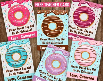 Donuts / Valentine / Sweet / Valentines / Card / Pink / Purple / Teal / Brown / Valentine's Day / Donut / Tags / teacher / Kids /VCard59