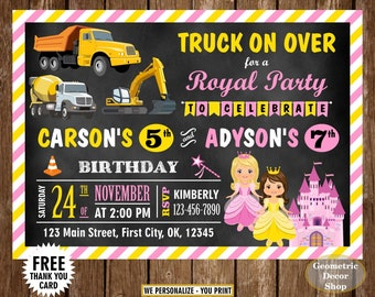 Construction / Princess / Birthday / invite / invitation / Siblings / Dual / double / combined / twins / joint / chalkboard / castle / BDS3