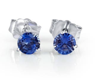 Natural Tanzanite Stud Earrings 14k White Gold, 0.50 Ct, Blue Tanzanite Earrings, Women's Earrings, Gemstone Earrings, Stud Earrings