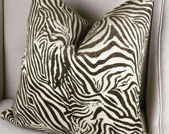 Zebra Brown Print Pillow Cover,  Decorative Animal Pillow Cover, Housewares Decor, Chenille Pillow Cover, Home Living, Pillow Decor 0025