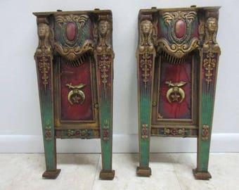 2 Victorian Masonic Architectural Salvage Cast Iron Theater Seat Industrial legs