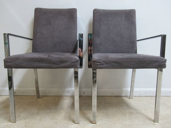 Pair Vintage Mid Century Chrome Flat Stock Dining Room Arm Chairs