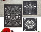 Black and White Art Print Set | Psychedelic, Hand-drawn, Square, Symbols, Tribal, Space, Cosmos, Cosmic, Stars, Abstract, Illustration