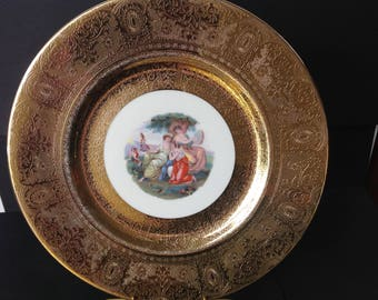 Vintage Royal China 22 Karat Gold Warranted Plate Grecian Women Scene