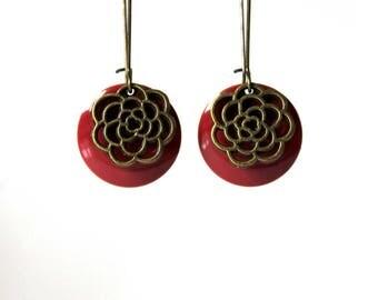 Earrings ° Sequins enamelled ° raspberry flower bronze metal °