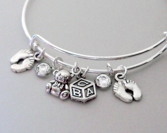 Teddy Bear / Block / BABY Feet Charm W/ Birthstones / New Mother Adjustable Silver Bangle / Baby Shower Gift - Under 20 USA - NM1