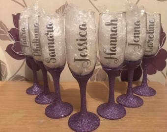 Personalised glitter champagne flute