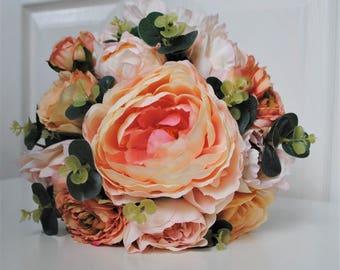 Peach bridal bouquet, peach wedding bouquet, peony bridal bouquet, peony and rose bouquet, silk bridal bouquet, bridal bouquet, peach peony