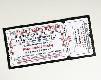 50 Personalised White card Movie / Cinema / Film Ticket style Wedding Invitations