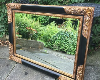 Black and Gold Ornate Mirror - Bevelled Gothic Grand Mirror, Large Vintage Mirror.