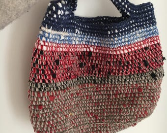 Recycled fabric Crochet Handbag / Bag / Tote / Holdall