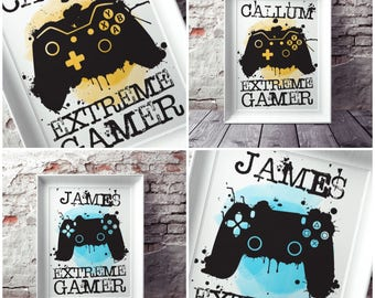 Personalised extreme Gamer print | xbox or playstation inspired print | Controller | Teen bedroom decor | xbox poster | PS4 print