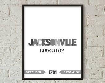 Jacksonville Print, Jacksonville Printable, Jacksonville Poster, Jacksonville Wall Art, Jacksonville Coordinates Minimalist (W0218)