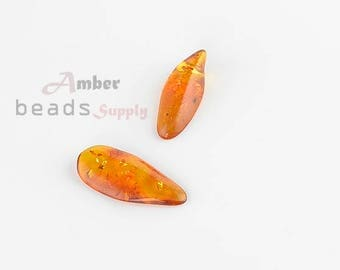 Amber beads for jewelry, Cognac Amber color, Baltic Amber, Amber Beads, Jewelry Making, Beads Supplies, 2 pieces, MO84